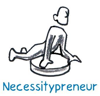 Der Necessitypreneur gründet aus der Not mangels Alternative oder aus dem inneren Zwang des Aussteigen. Mit oder ohne eigenem Startkapital aus der früheren Tätigkeit folgt er dem Drang, etwas, was er gut kann, und etwas, was er gerne macht nachzugehen.